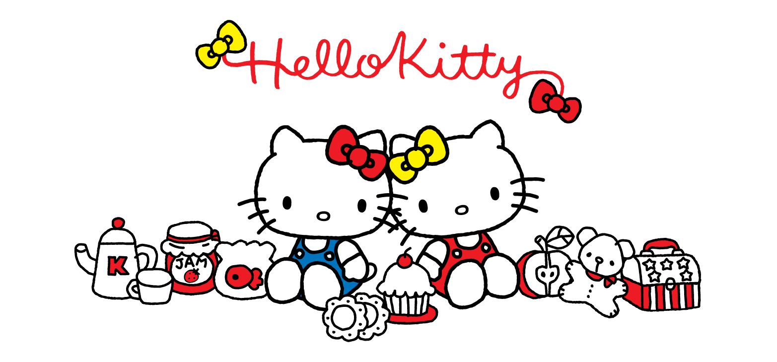 Hai Hello Kitty ngồi tựa lưng vào nhau một nam một nữ