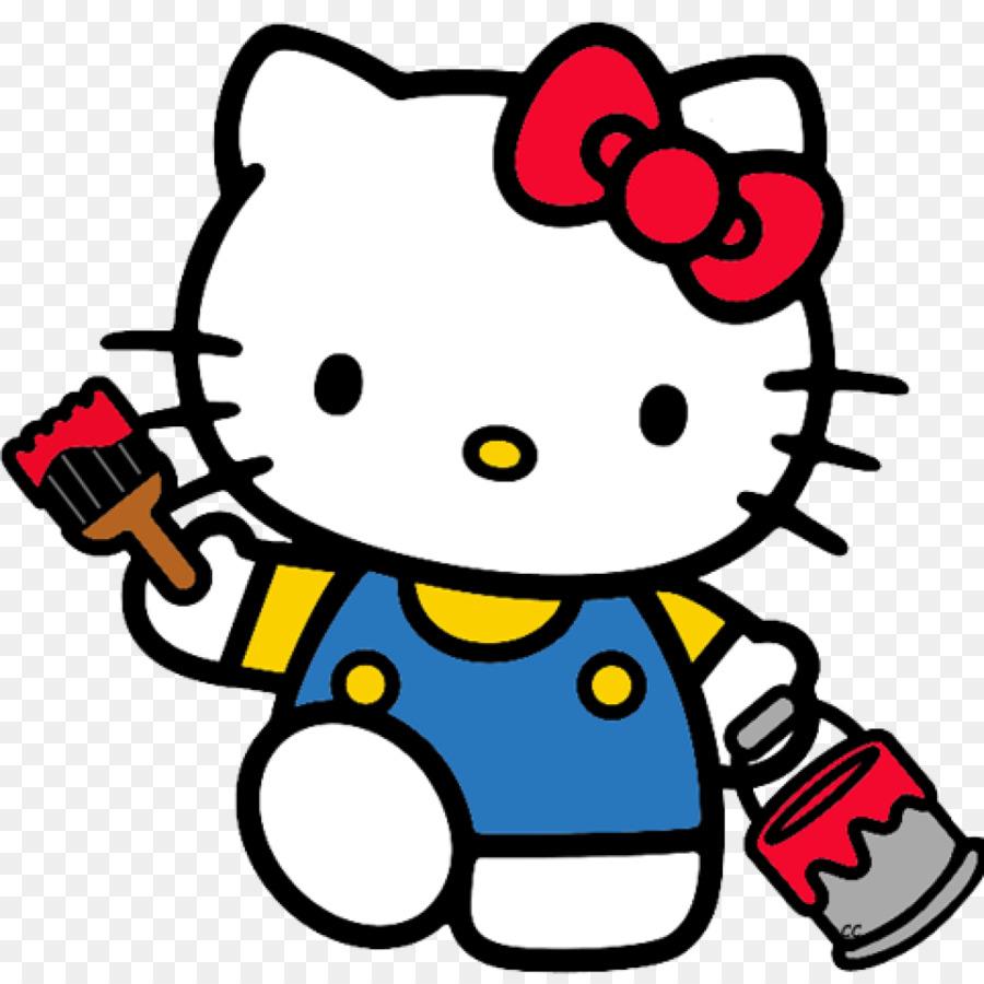 Hello Kitty cầm thùng sơn đỏ