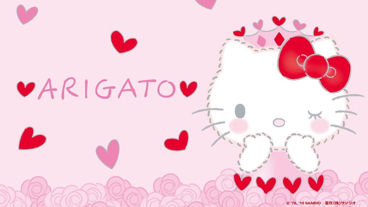 Hello Kitty đáng yêu nói arigato xin cảm ơn trong tiếng Nhật