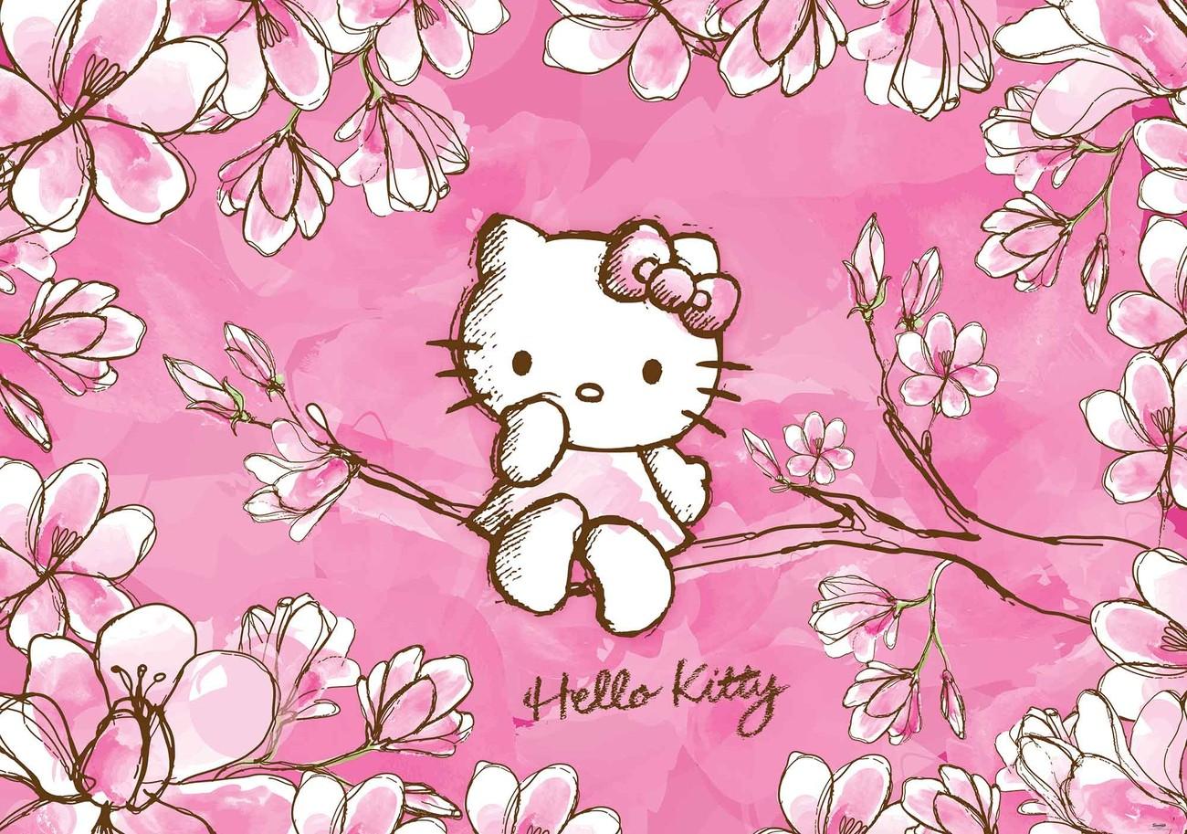 Hello Kitty ngồi trên cành đào