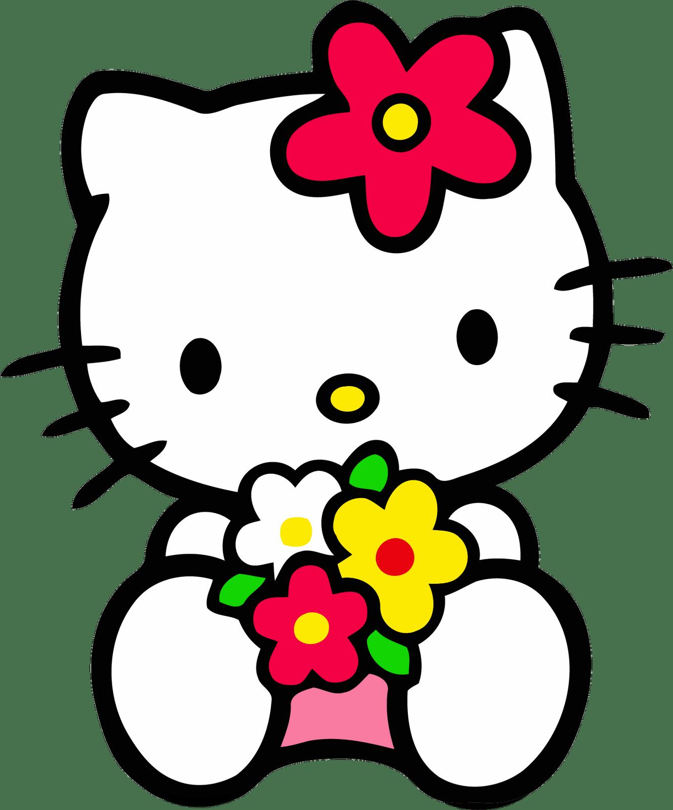 Hello Kitty ôm hoa nhìn bạn