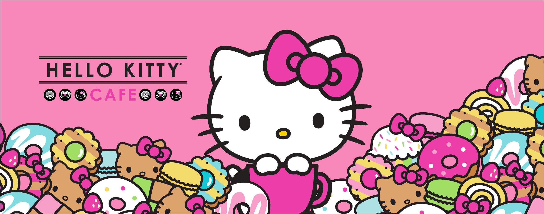 Hình nằm ngang Hello Kitty hồng cafe