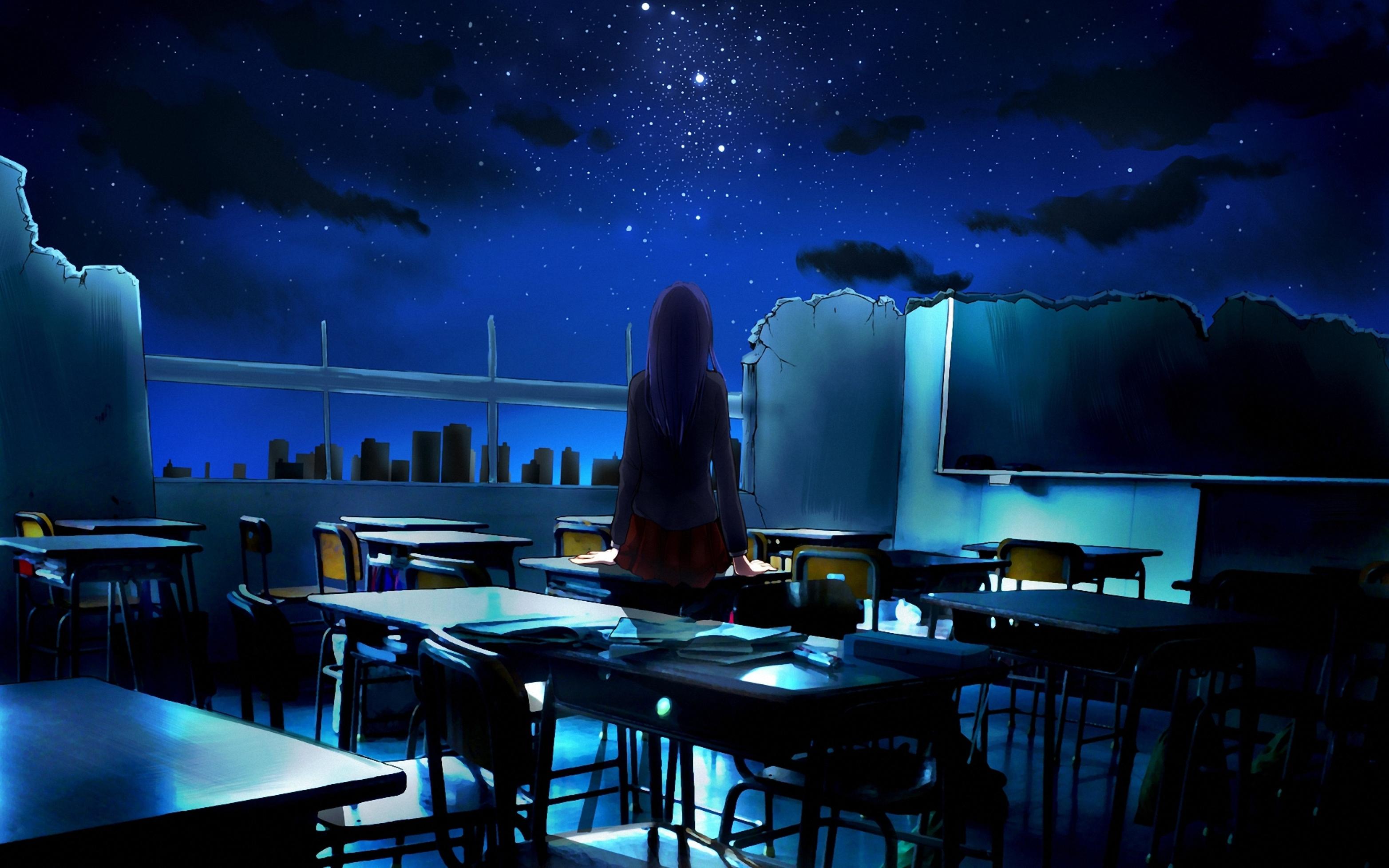 Hình nền anime cô gái cô đơn trong phòng học đổ nát
