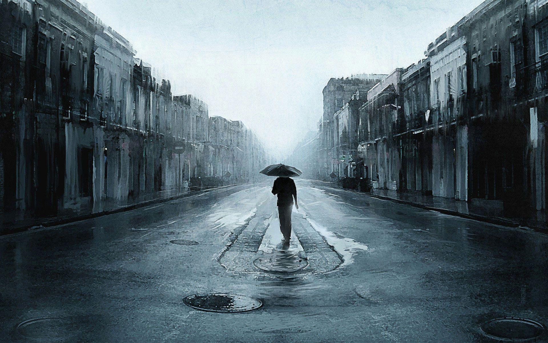 Hình nền cô đơn chỉ mình tôi đi trên phố mưa vắng