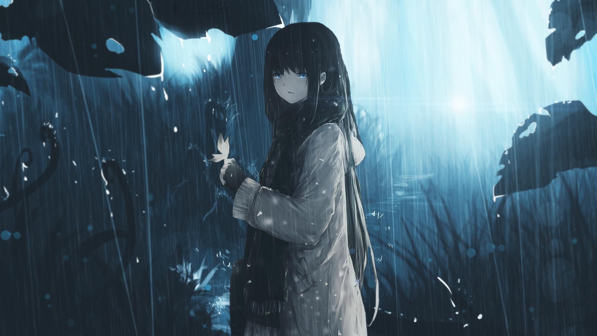 Hình nền cô gái trông có vẻ rất cô đơn dưới mưa