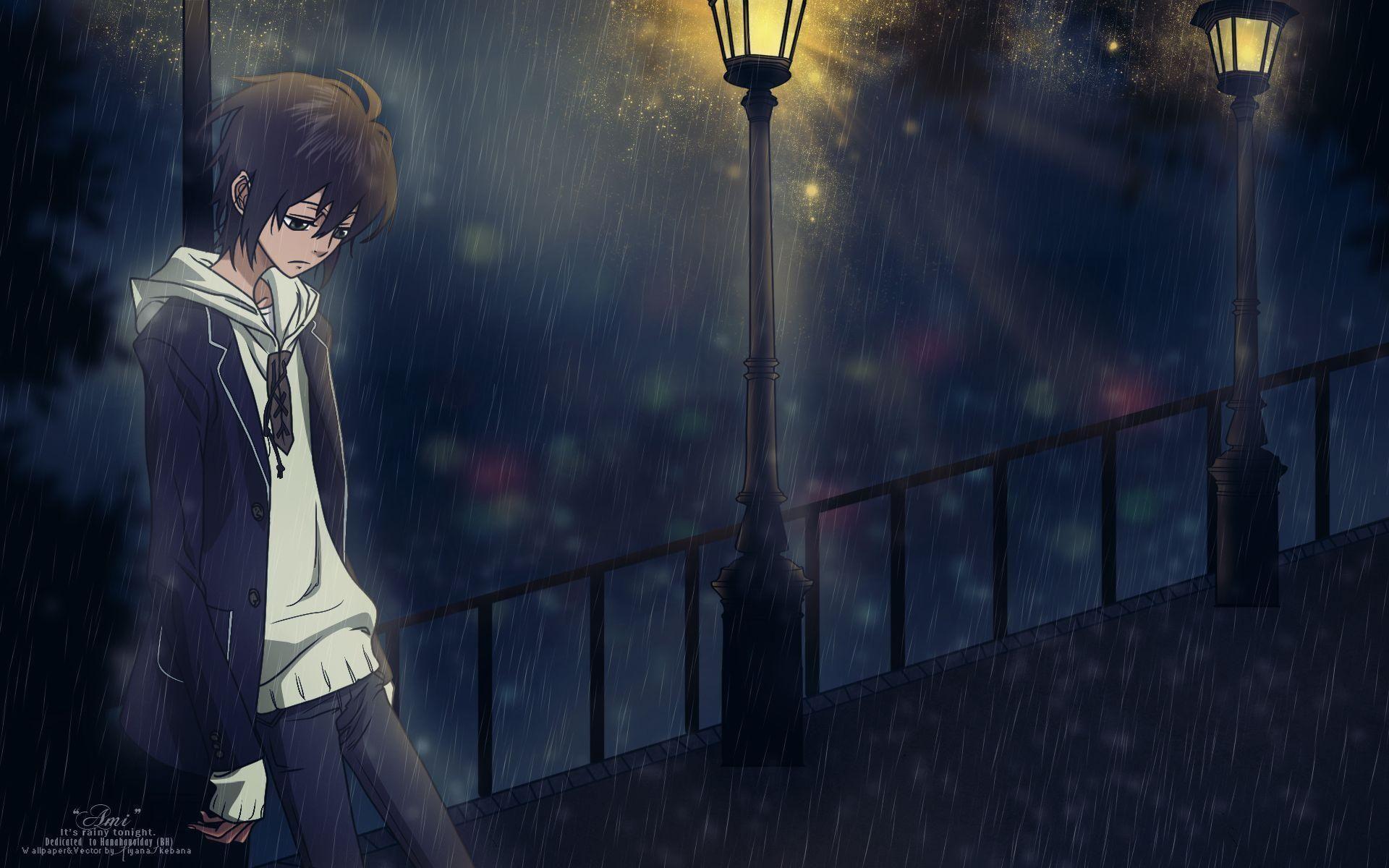 Hình nền điện thoại cậu thiếu niên cô đơn đứng dưới ánh đèn đường