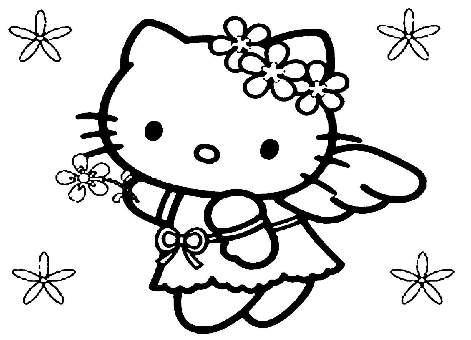 Tranh Hello Kitty đen trắng đẹp