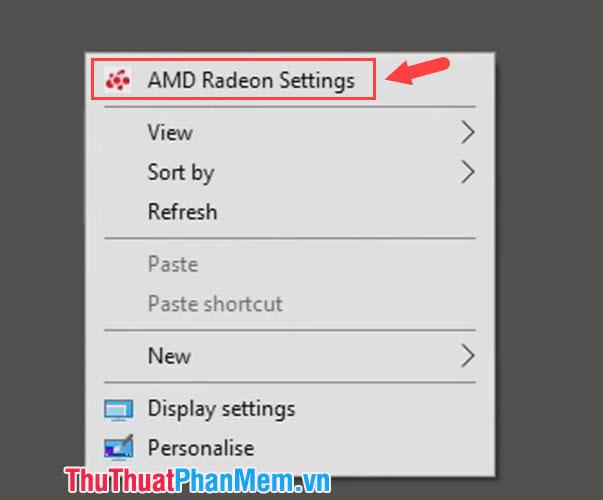 Chọn AMD Radeon Settings