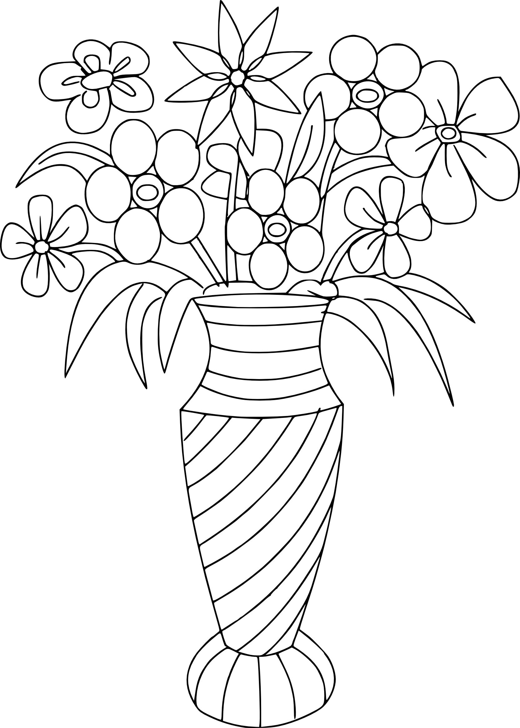 Tranh tô màu bình hoa cực đơn giản