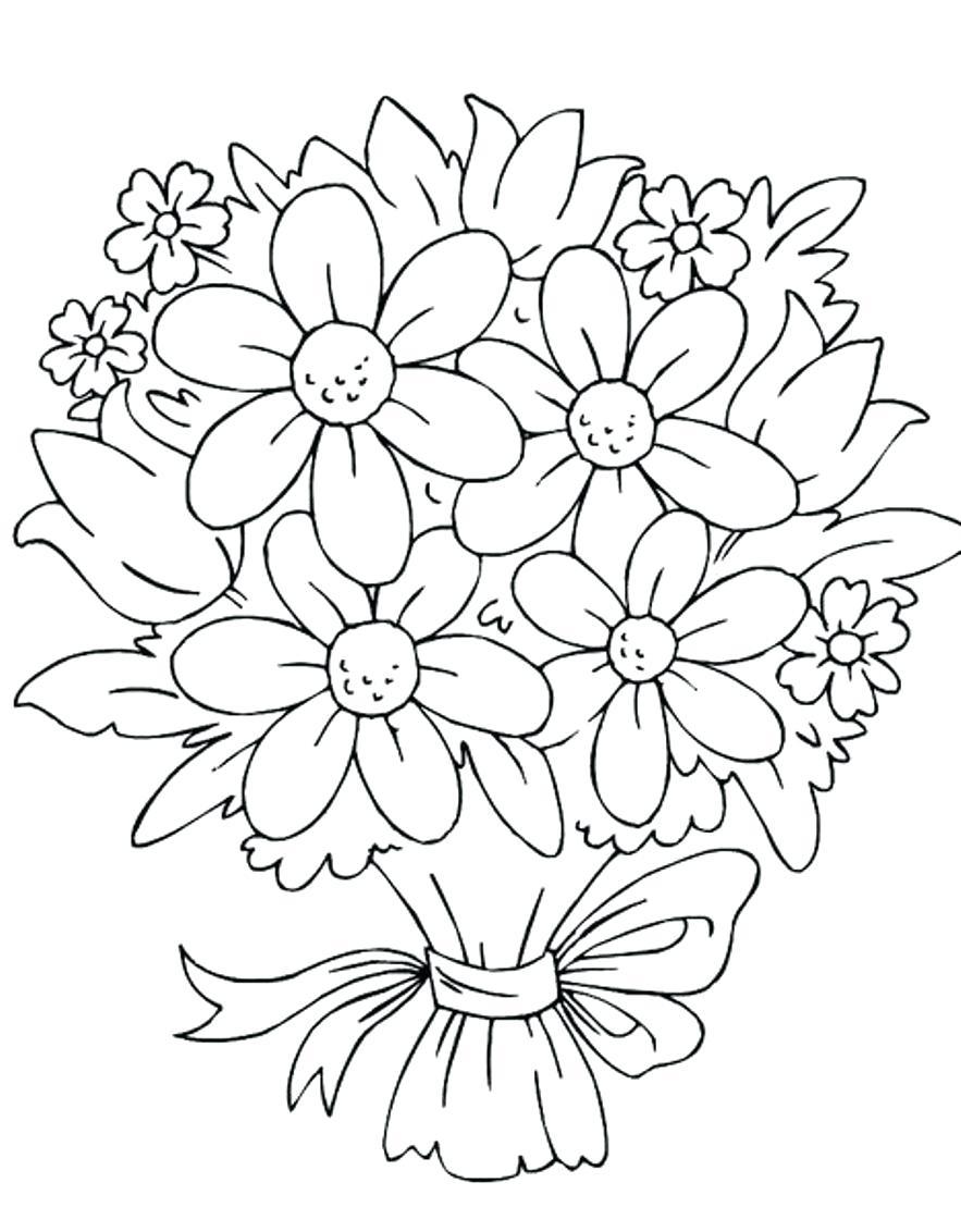 Tranh tô màu bó hoa đẹp cho bé