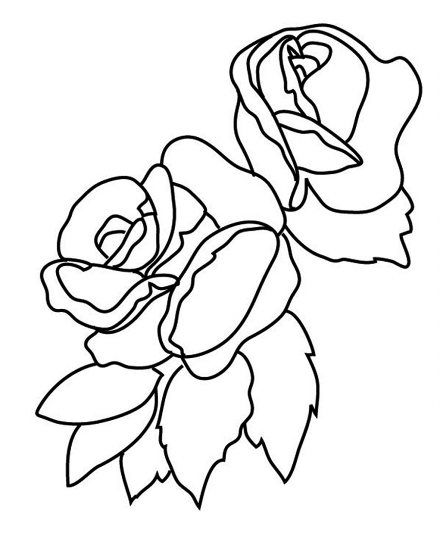 Tranh tô màu bông hoa hồng đẹp cho bé