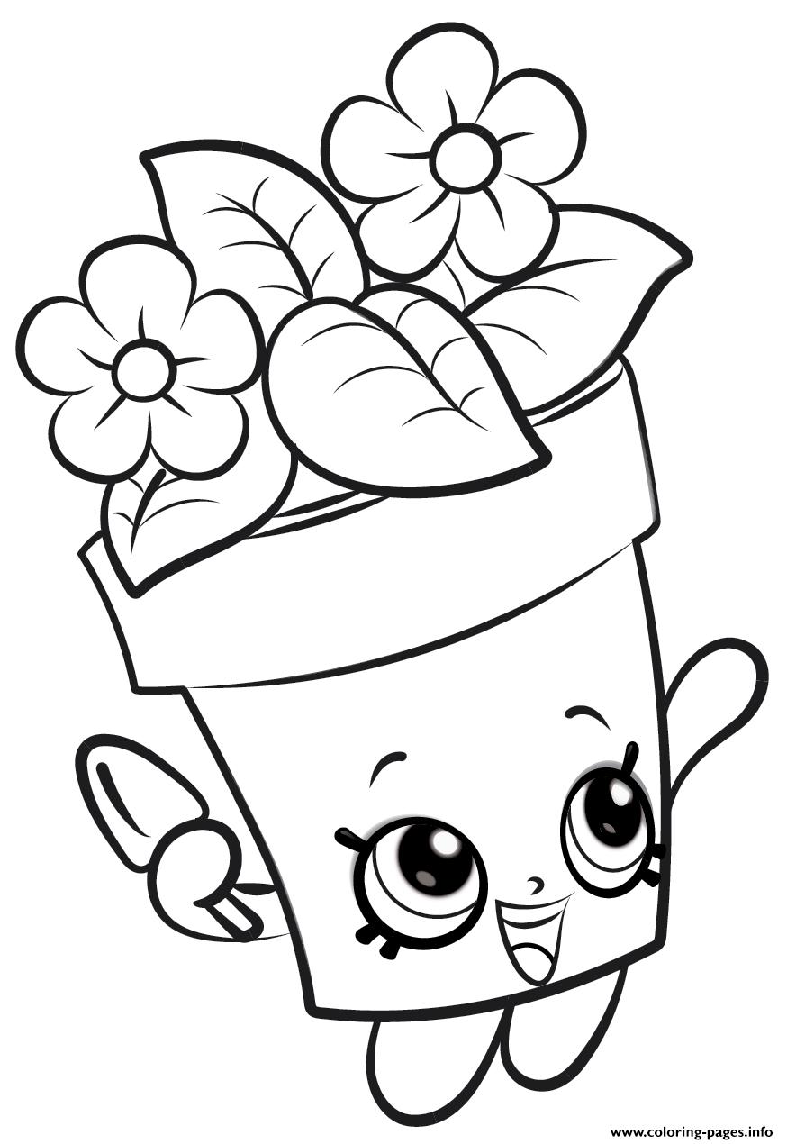 Tranh tô màu chậu hoa cho bé