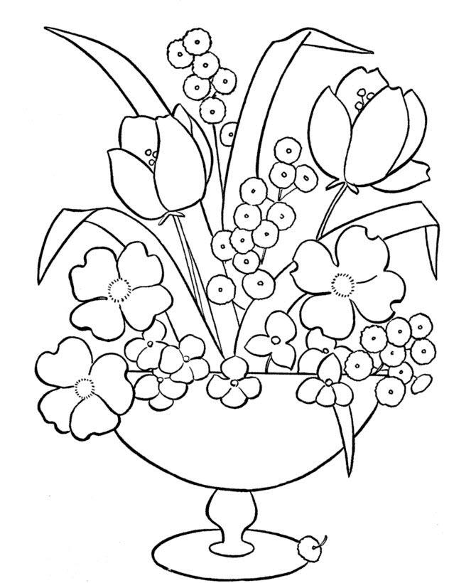 Tranh tô màu chậu hoa đẹp