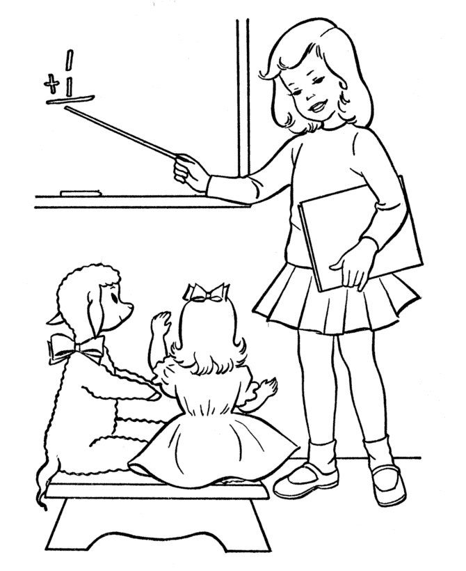 Tranh tô màu cô giáo dạy học
