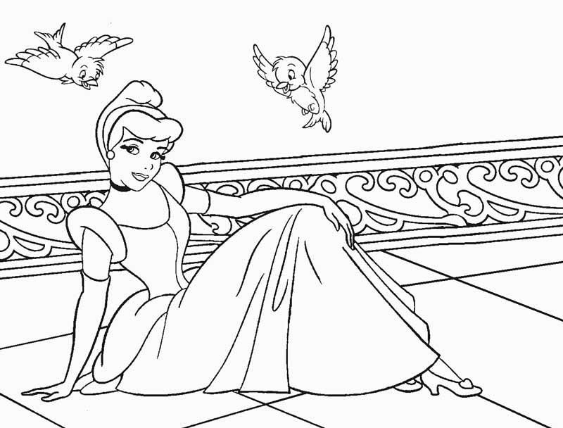 Tranh tô màu công chúa lọ lem cho bé cực đẹp