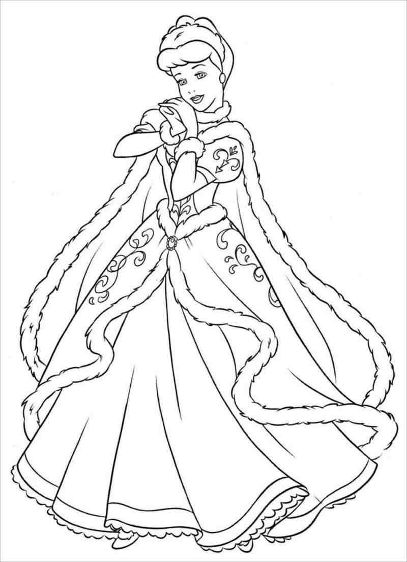 Tranh tô màu công chúa lọ lem cho bé đơn giản