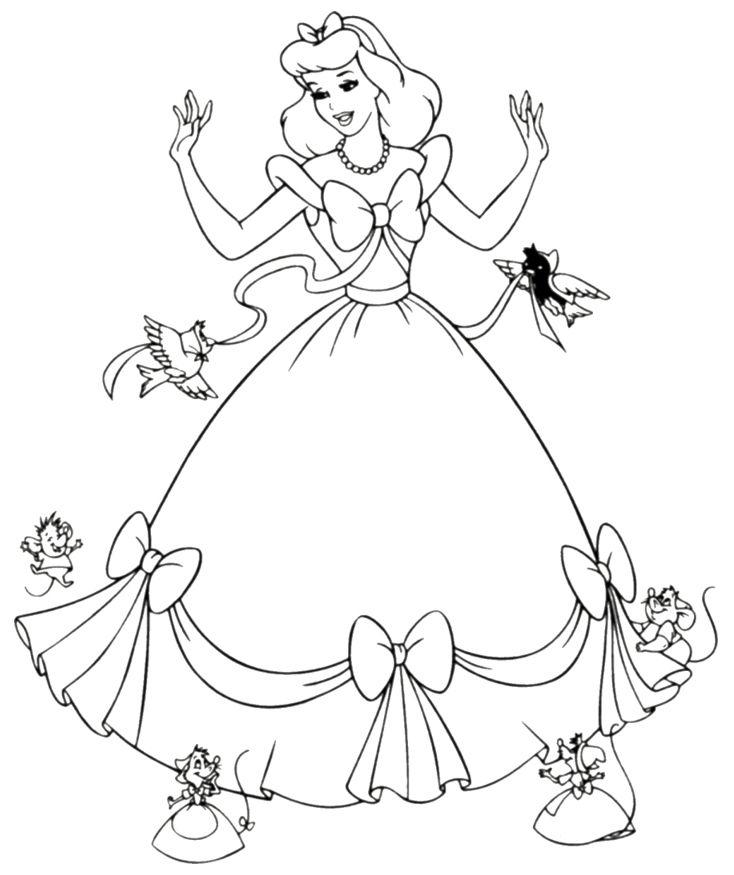 Tranh tô màu công chúa lọ lem đáng yêu cho bé đẹp nhất