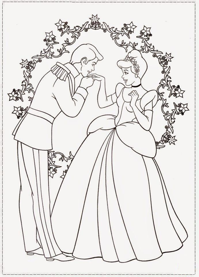 Tranh tô màu công chúa lọ lem đáng yêu cho bé
