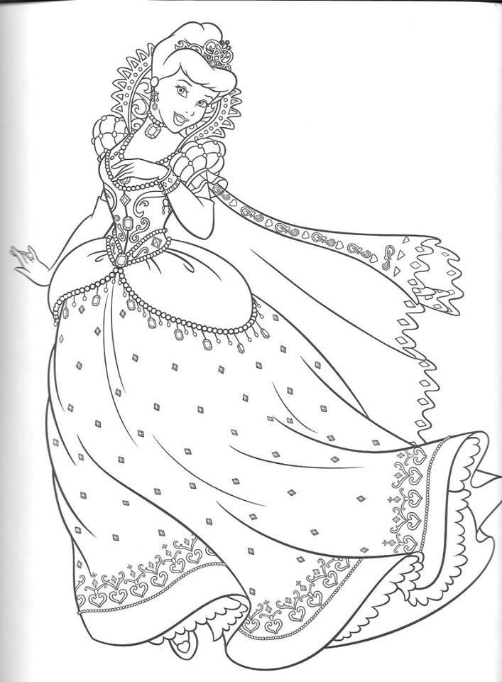 Tranh tô màu công chúa lọ lem đẹp cho bé gái