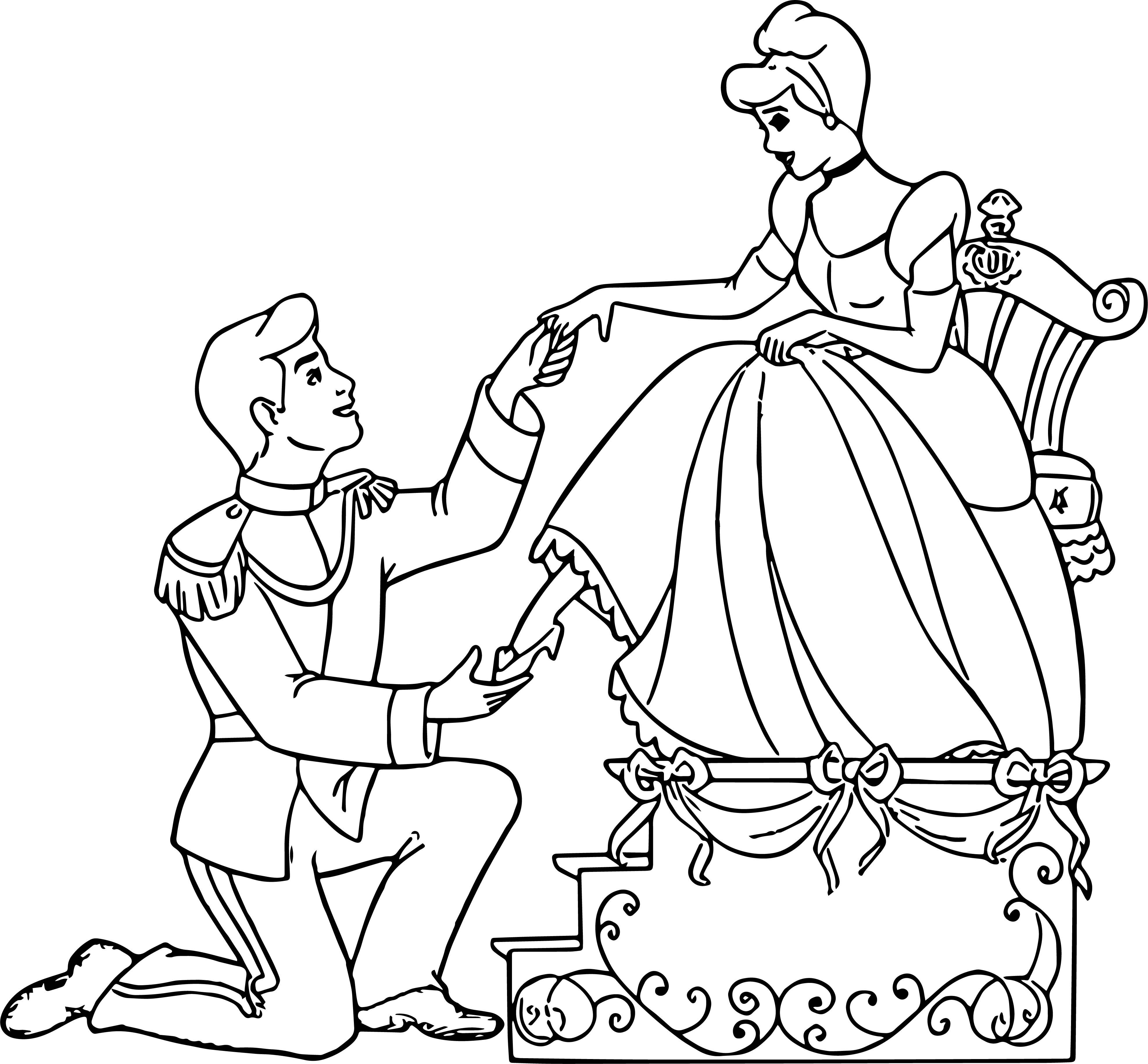 Tranh tô màu công chúa lọ lem đơn giản