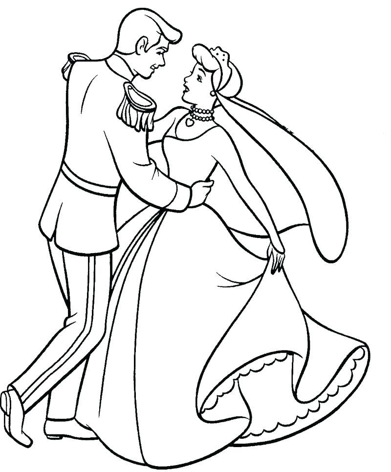 Tranh tô màu công chúa lọ lem khiêu vũ