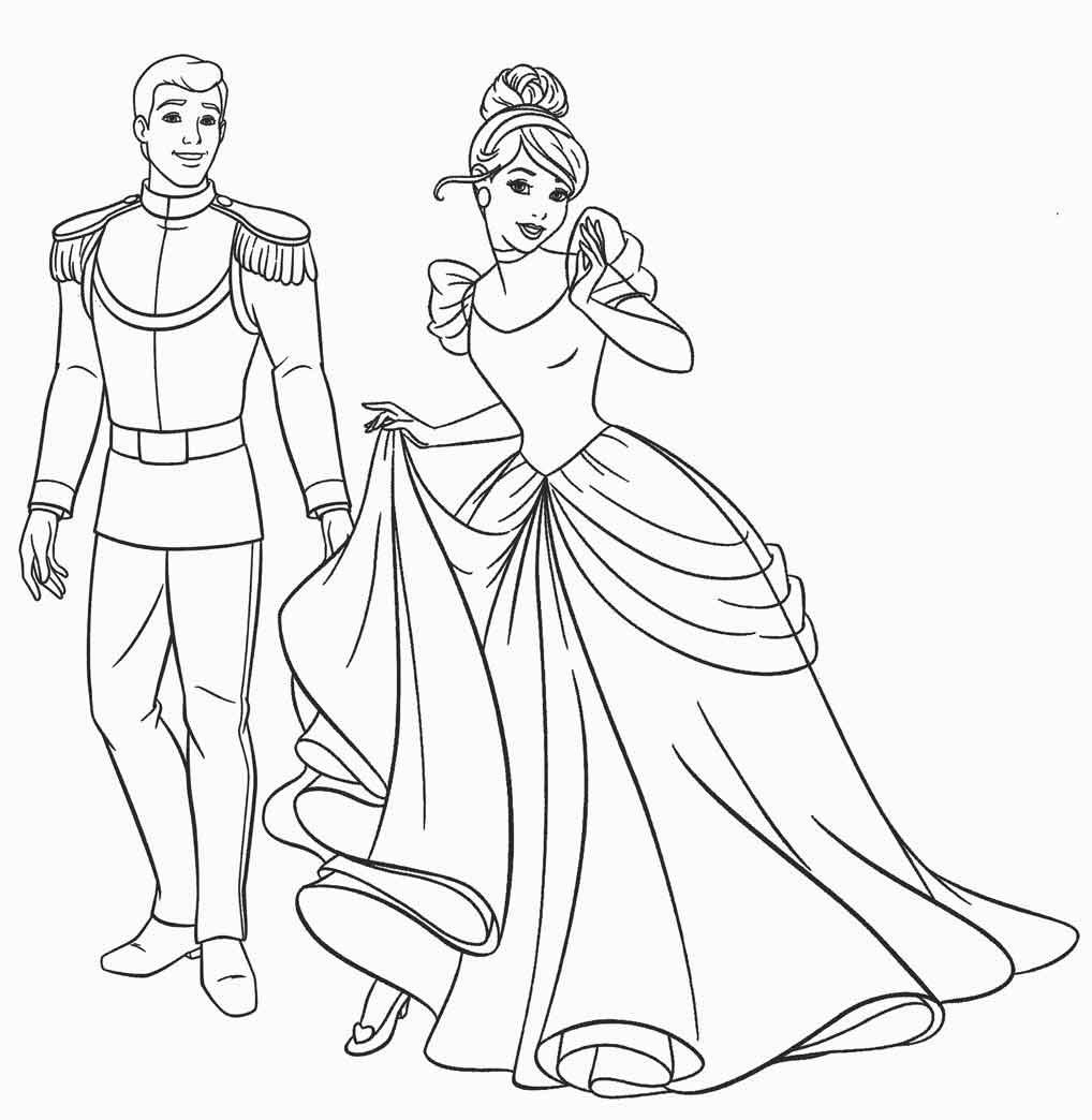 Tranh tô màu công chúa lọ lem ngộ nghĩnh cho bé