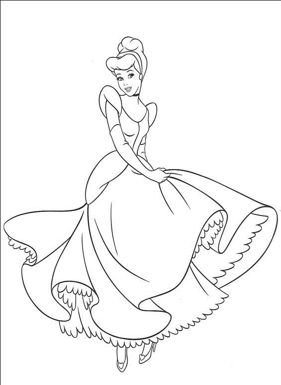 Tranh tô màu công chúa lọ lem nhảy múa