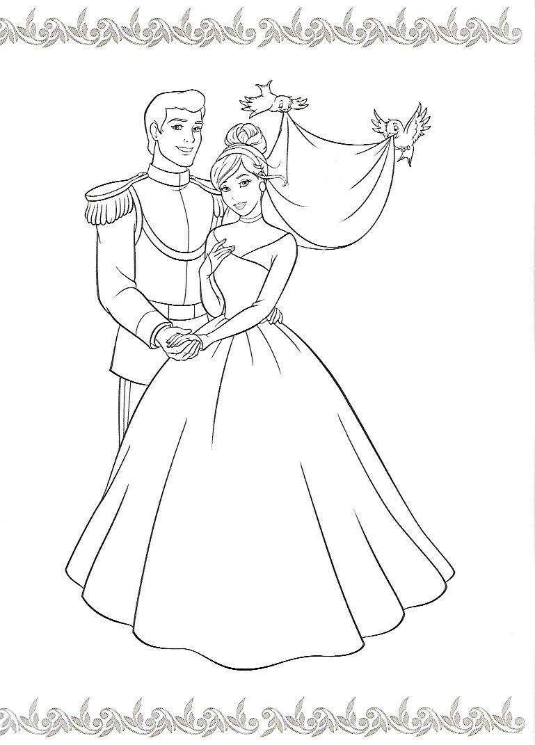 Tranh tô màu công chúa lọ lem và hoàng tử đẹp