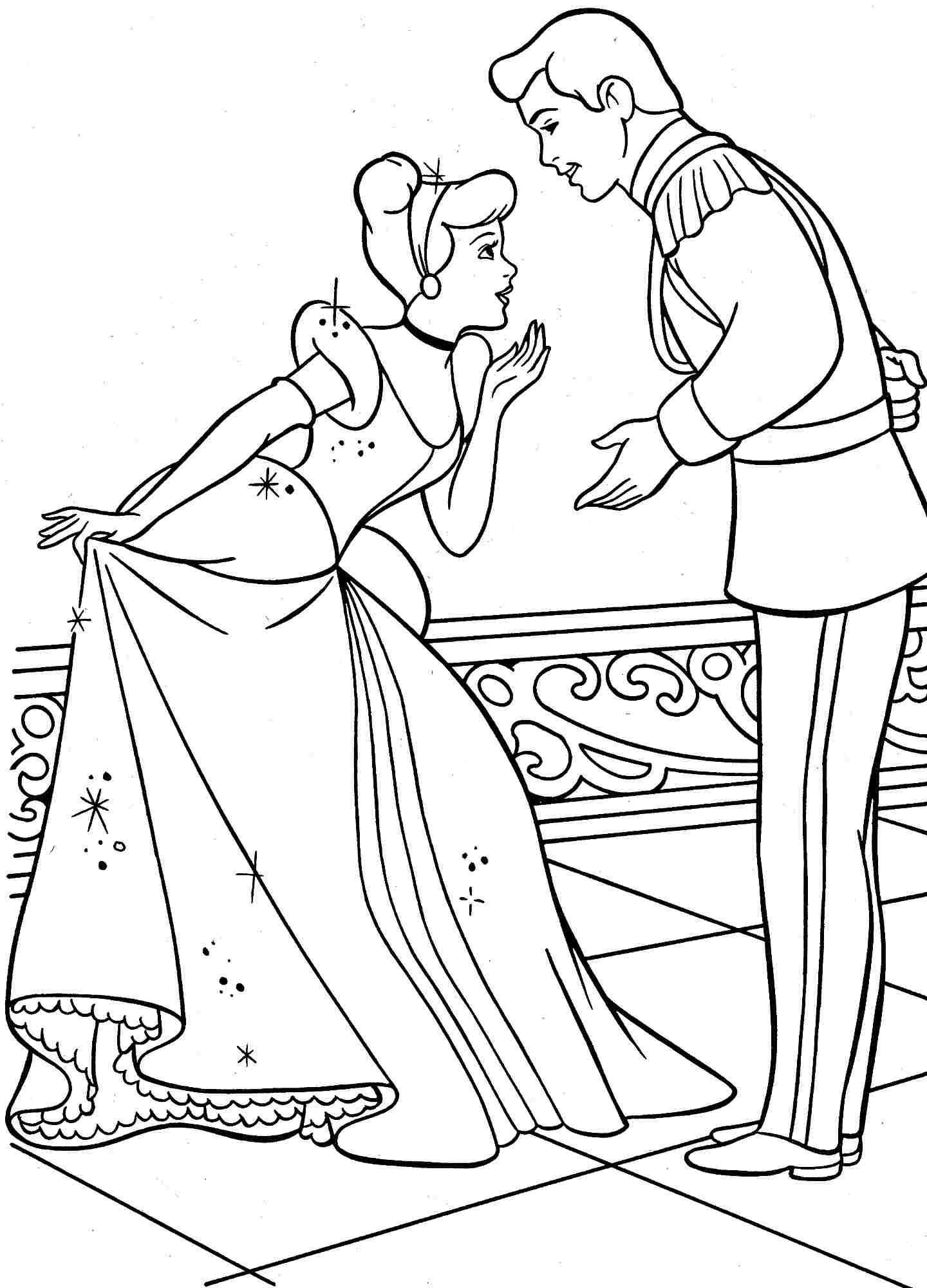 Tranh tô màu công chúa lọ lem và hoàng tử