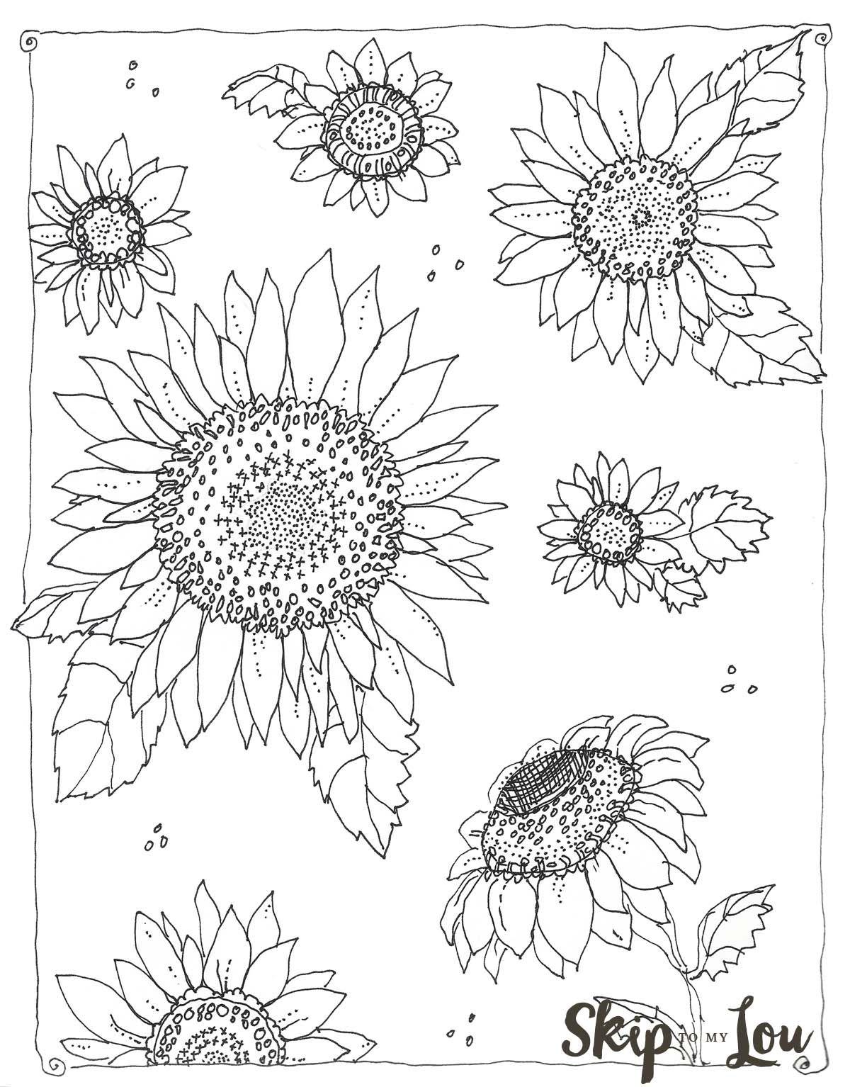Tranh tô màu hoa hướng dương đơn giản mà đẹp cho bé
