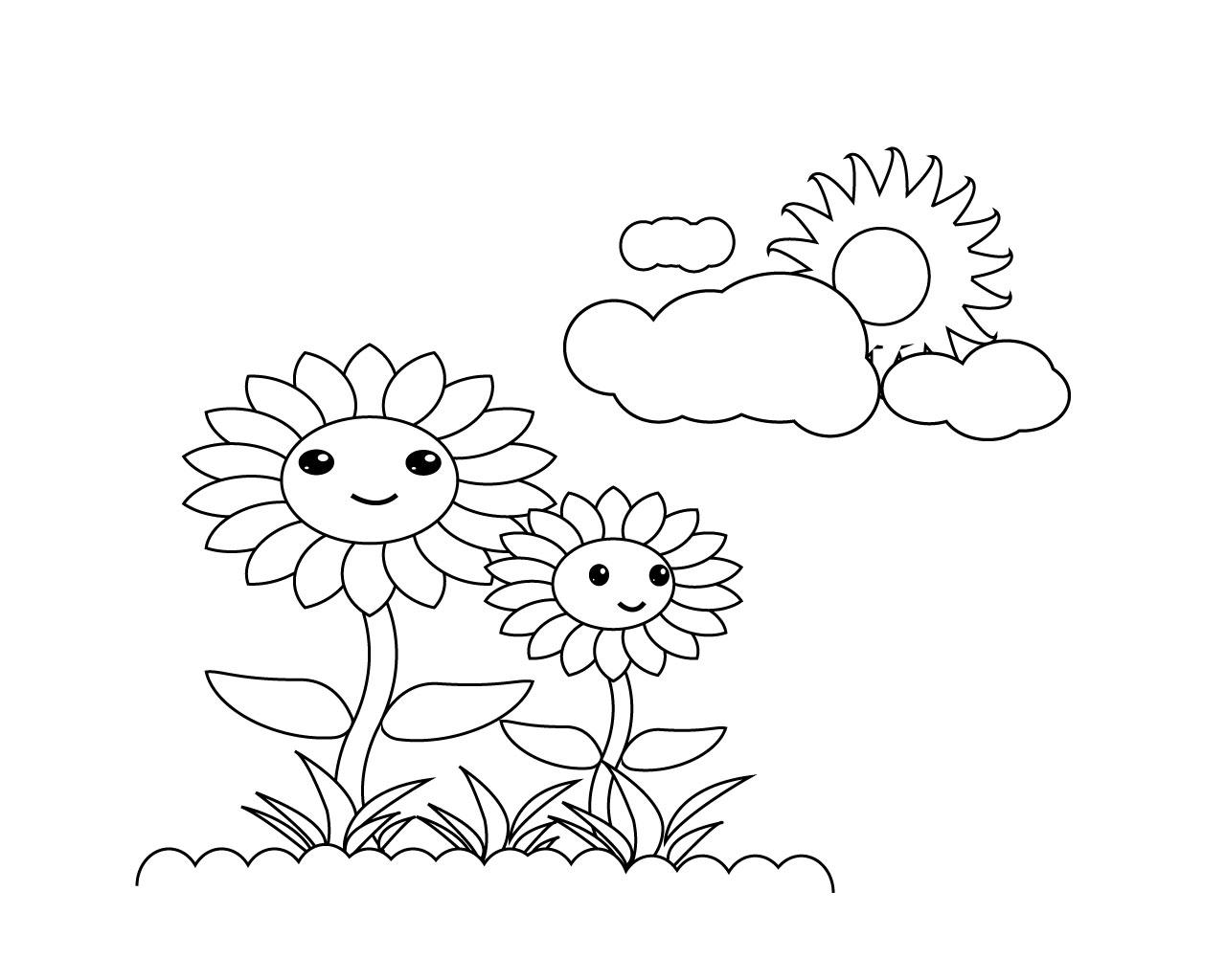 Tranh tô màu hoa hướng dương siêu đẹp