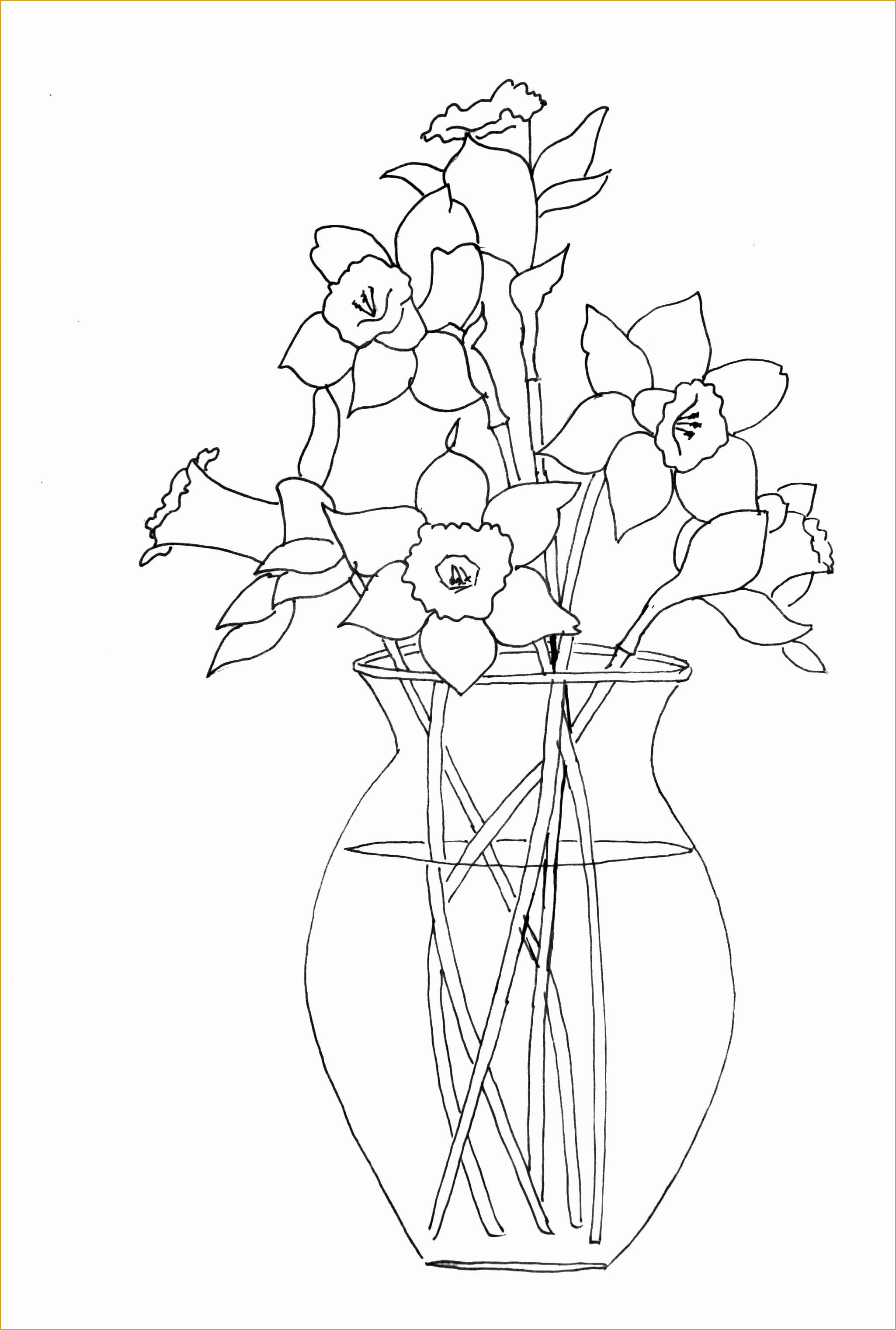 Tranh tô màu lọ hoa đơn giản
