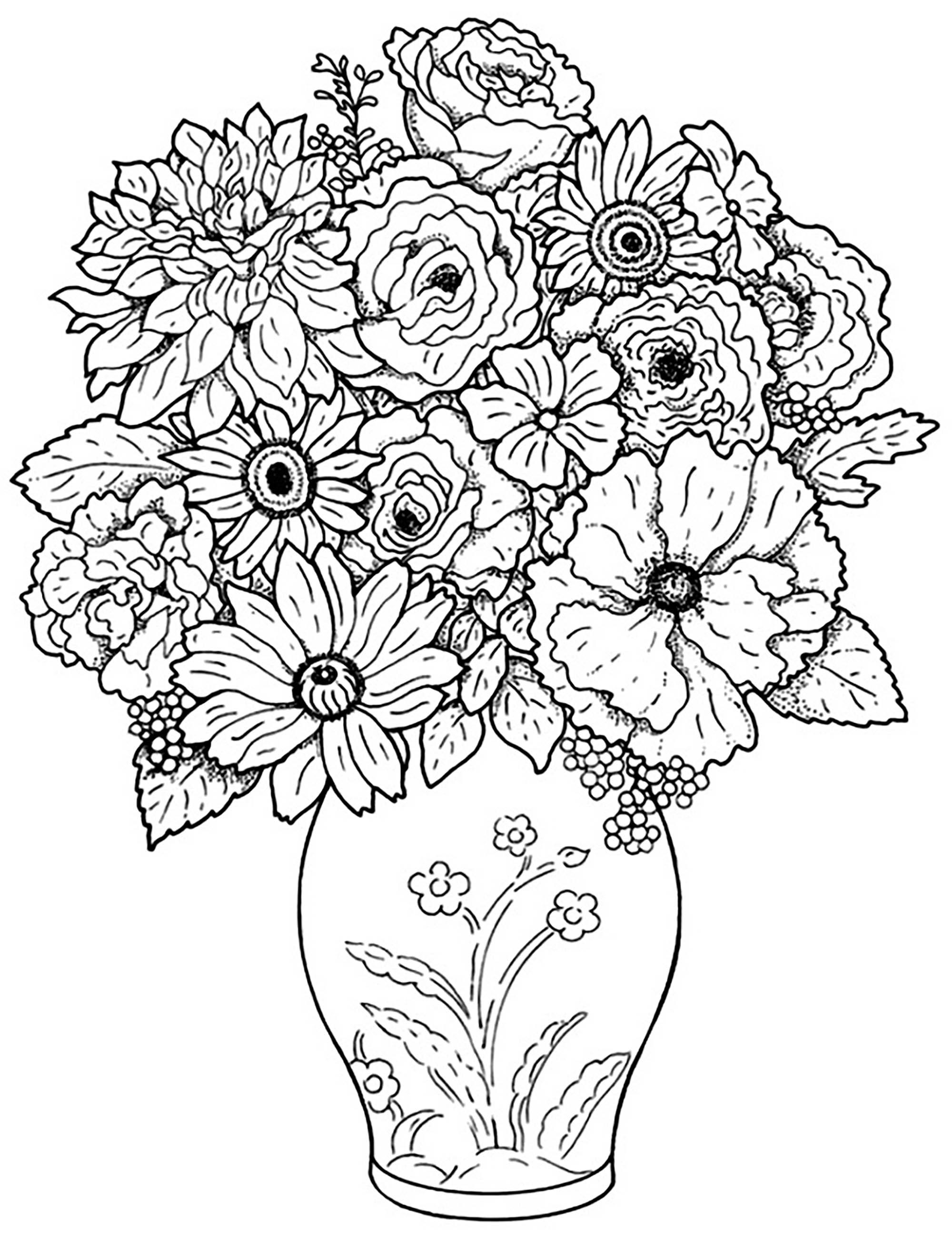 Tranh tô màu lọ hoa nhiều chi tiết