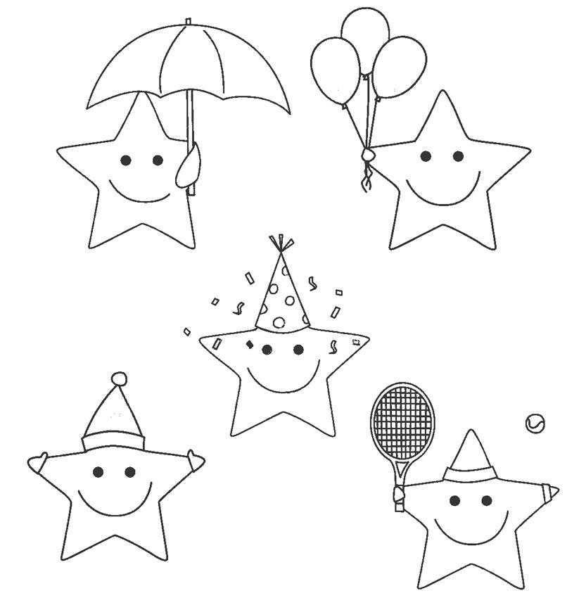 Tranh tô màu ngôi sao đơn giản đáng yêu