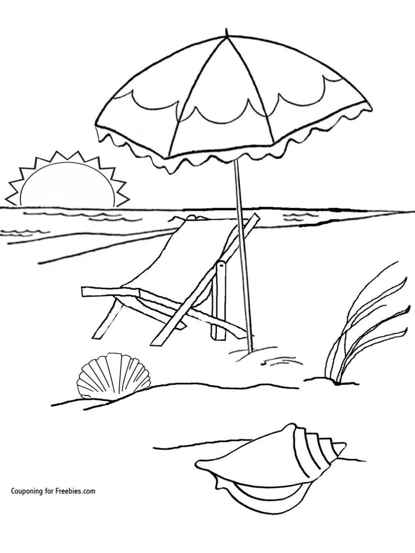 Tranh tô màu phong cảnh bãi biển đẹp cho bé