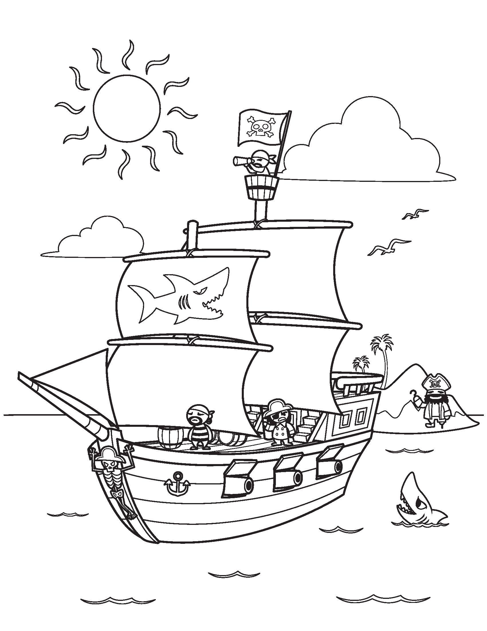 Tranh tô màu phong cảnh biển cho bé