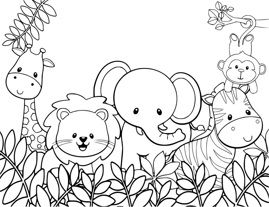 Tranh tô màu phong cảnh rừng đơn giản cho bé
