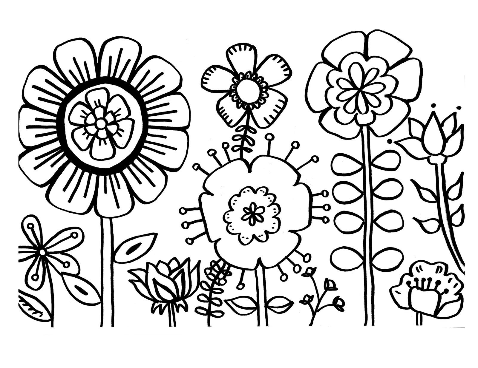 Tranh tô màu vườn hoa đơn giản