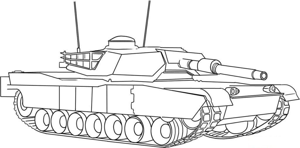 Tranh tô màu xe tank đơn giản