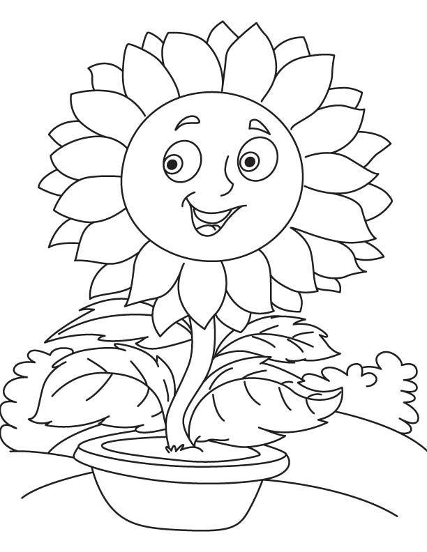 Tranh vẽ tô màu bông hoa hướng dương đáng yêu