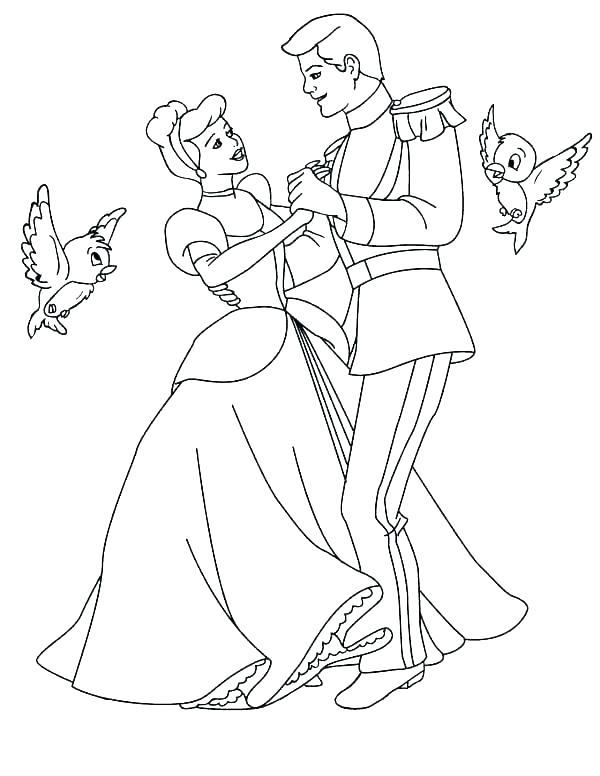 Tranh vẽ tô màu công chúa lọ lem đáng yêu cho bé