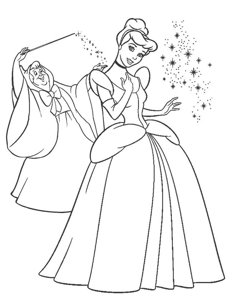 Tranh vẽ tô màu công chúa lọ lem đơn giản cho bé