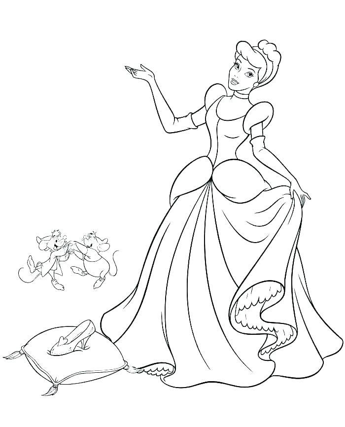 Tranh vẽ tô màu công chúa lọ lem đơn giản đẹp
