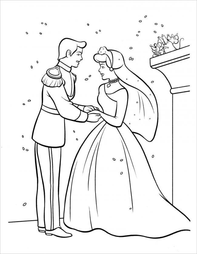 Tranh vẽ tô màu công chúa lọ lem đơn giản