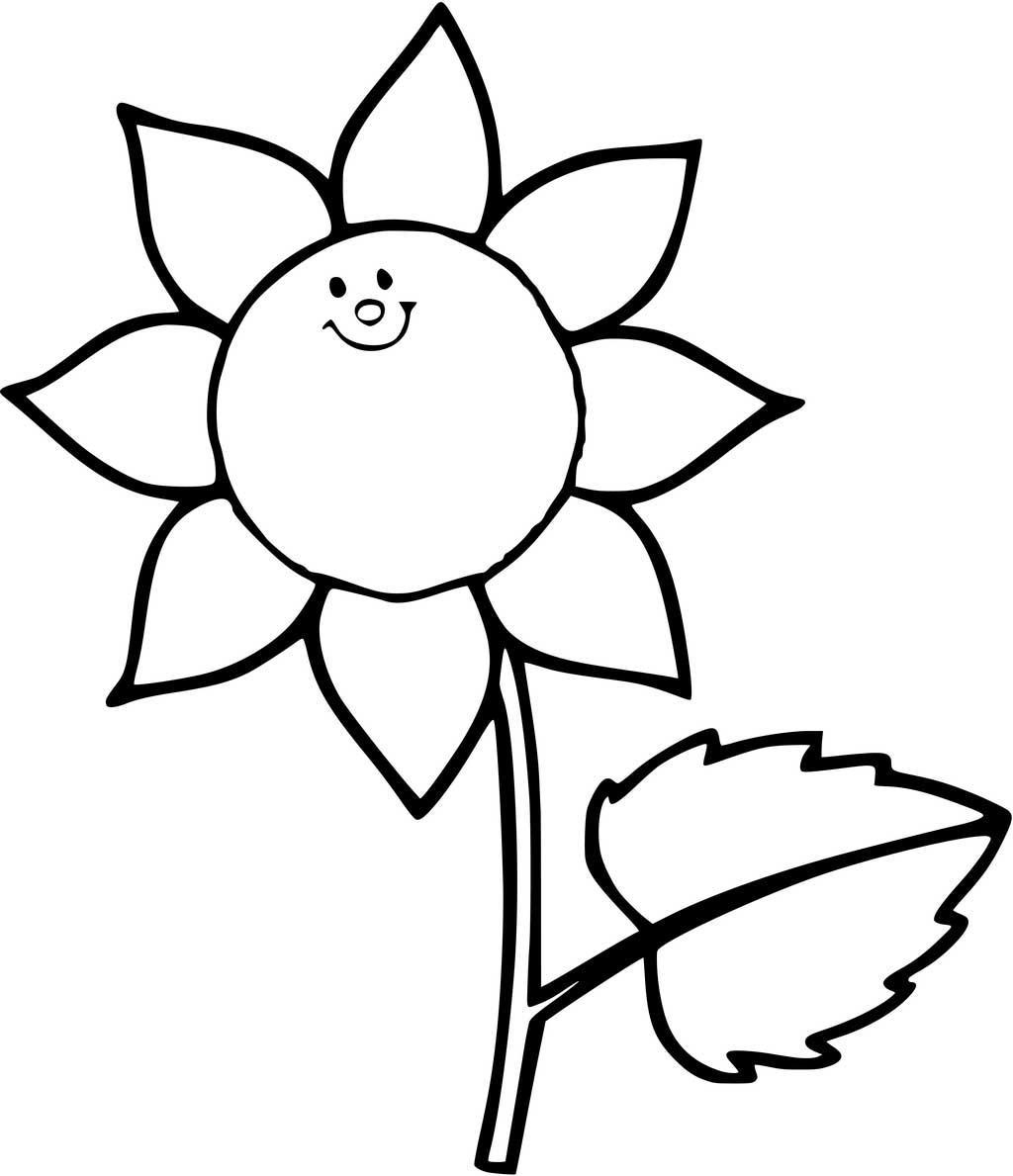 Tranh vẽ tô màu hoa hướng dương đẹp