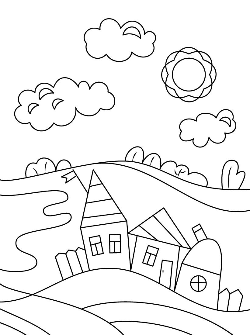 Tranh vẽ tô màu thiên nhiên đơn giản mà đẹp cho bé