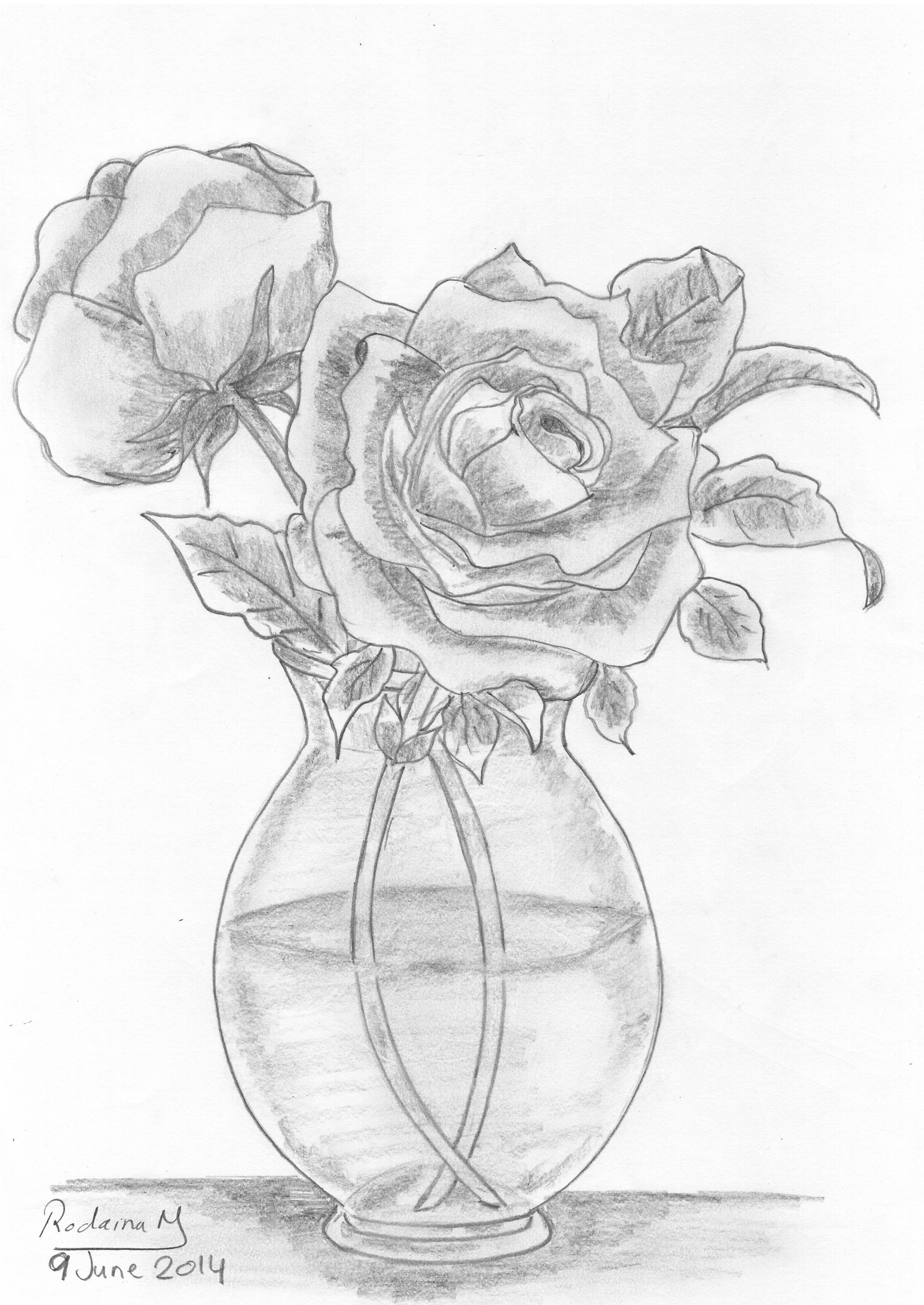 Ảnh vẽ lọ hoa hồng bằng bút chì