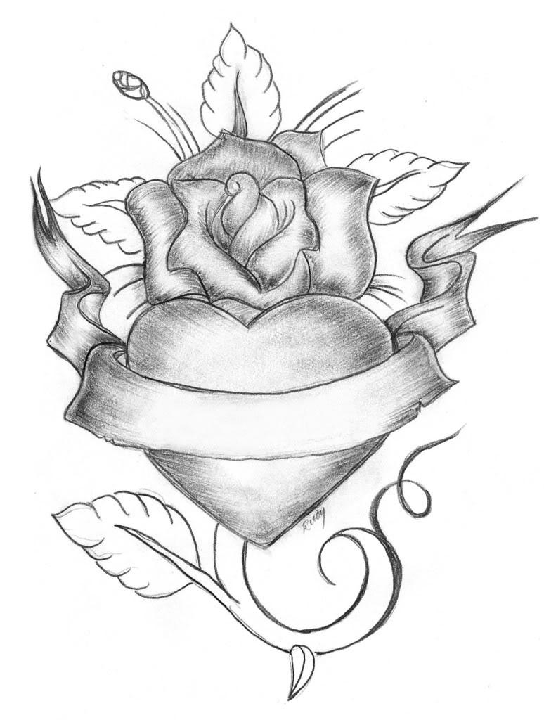 Hình ảnh hoa hồng và trái tim đẹp nhất bằng bút chì