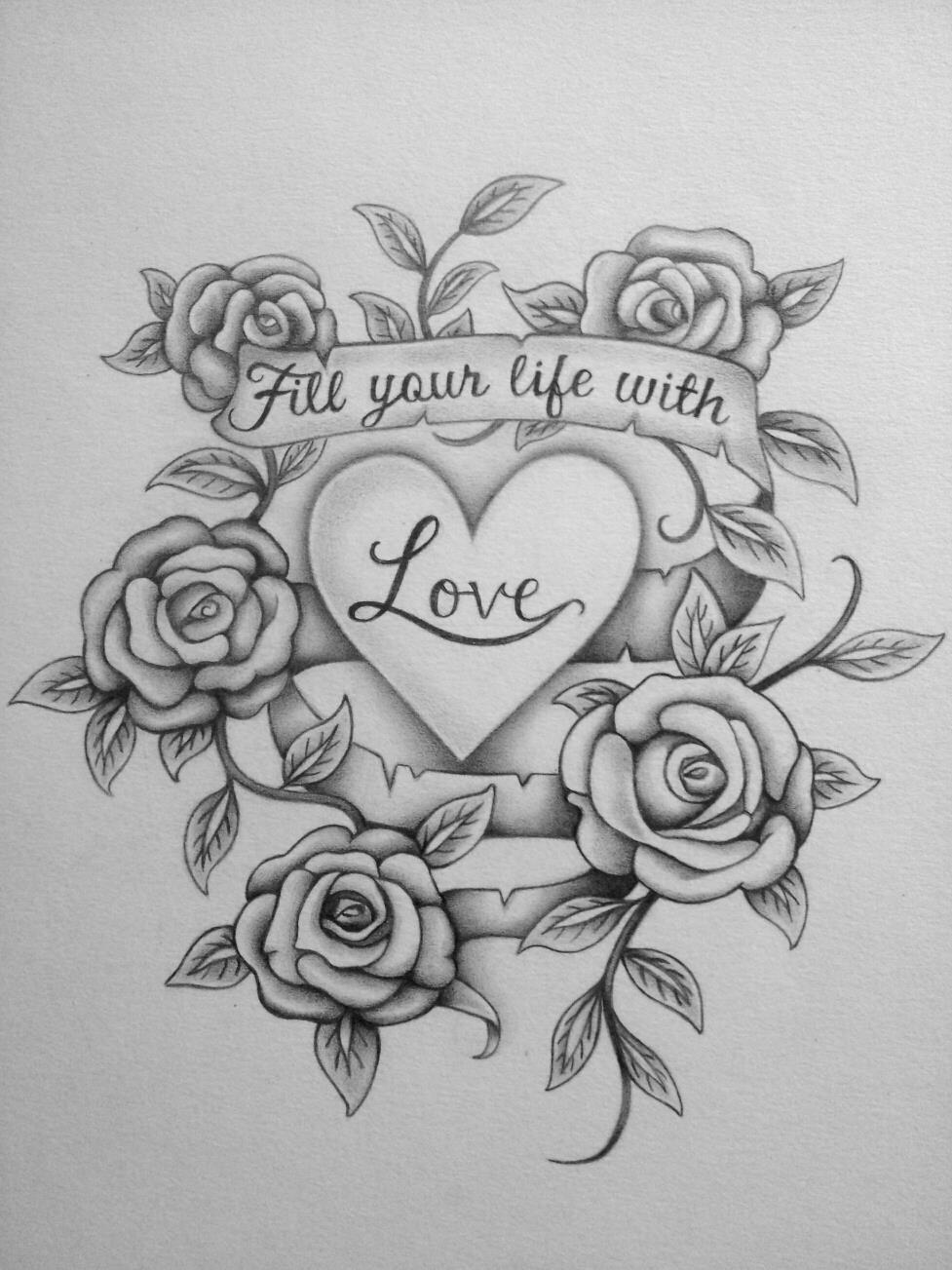 Hình ảnh họa tiết hoa hồng được vẽ bằng bút chì