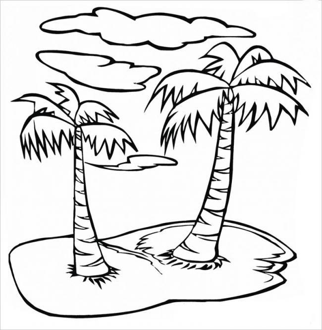 Mẫu tranh tô màu cây xanh trên đảo